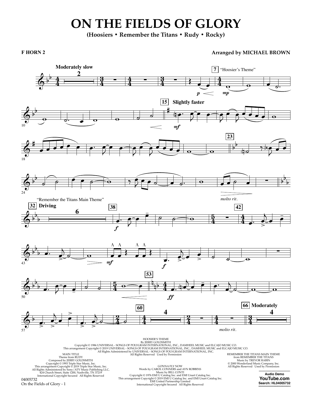 Michael Brown On the Fields of Glory - F Horn 2 sheet music preview music notes and score for Concert Band including 2 page(s)