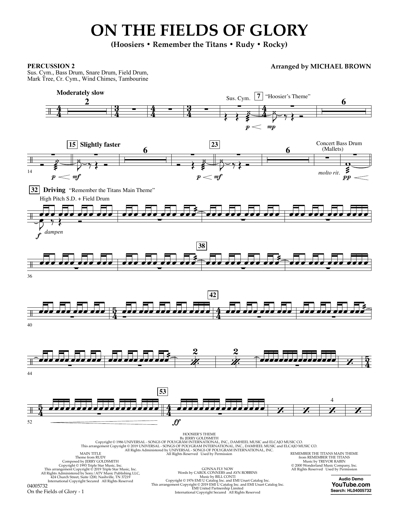 Michael Brown On the Fields of Glory - Percussion 2 sheet music preview music notes and score for Concert Band including 2 page(s)