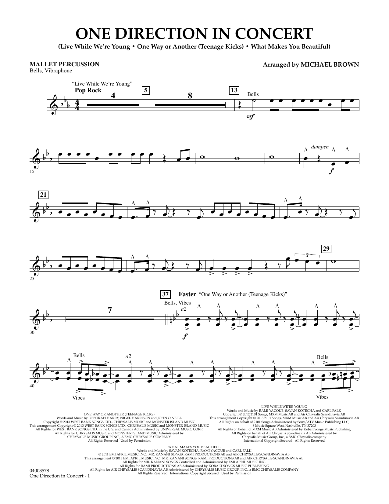 Michael Brown One Direction In Concert - Mallet Percussion sheet music notes and chords