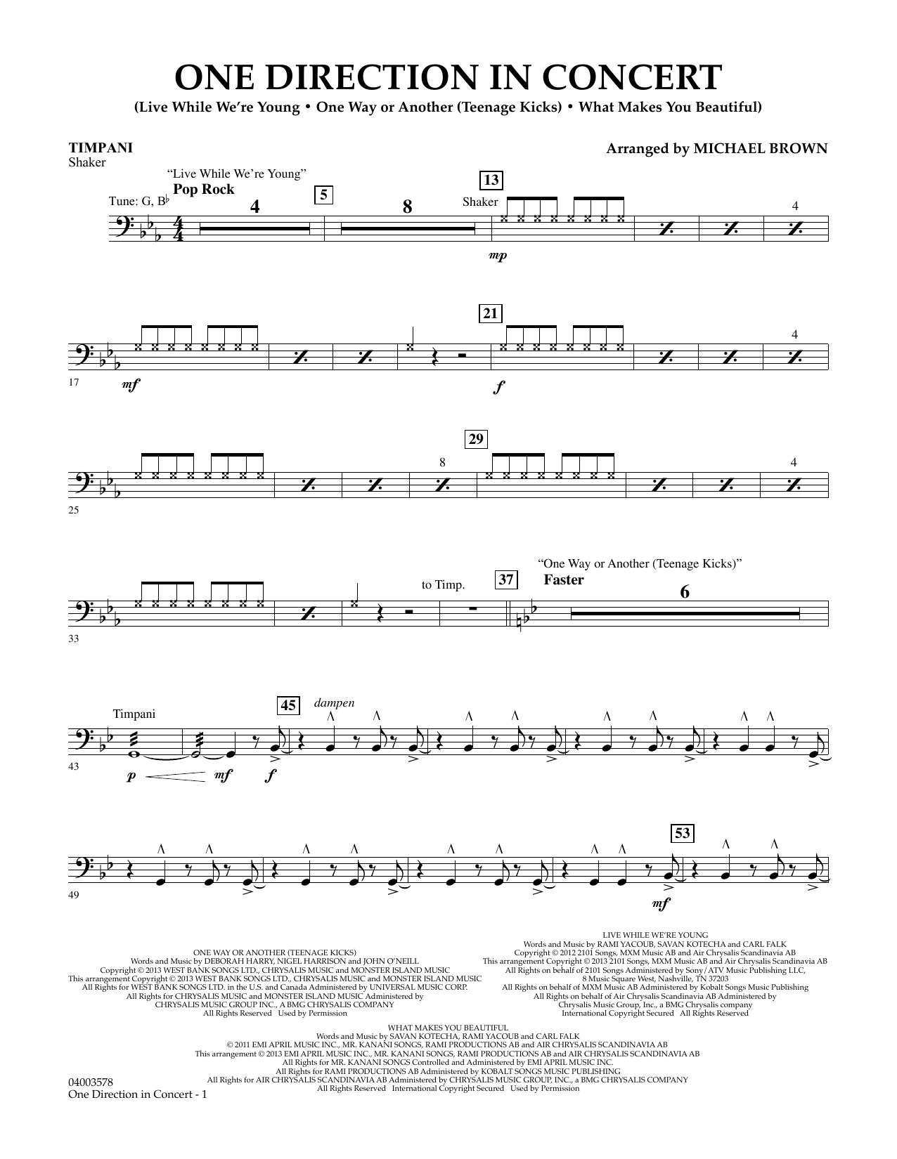 Michael Brown One Direction In Concert - Timpani sheet music notes and chords