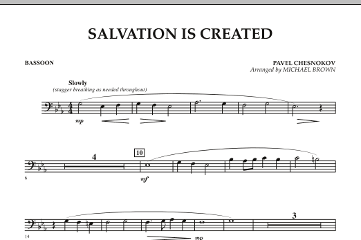 Michael Brown Salvation Is Created - Bassoon sheet music preview music notes and score for Concert Band including 1 page(s)