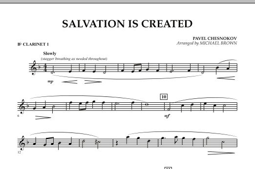 Michael Brown Salvation Is Created - Bb Clarinet 1 sheet music preview music notes and score for Concert Band including 1 page(s)
