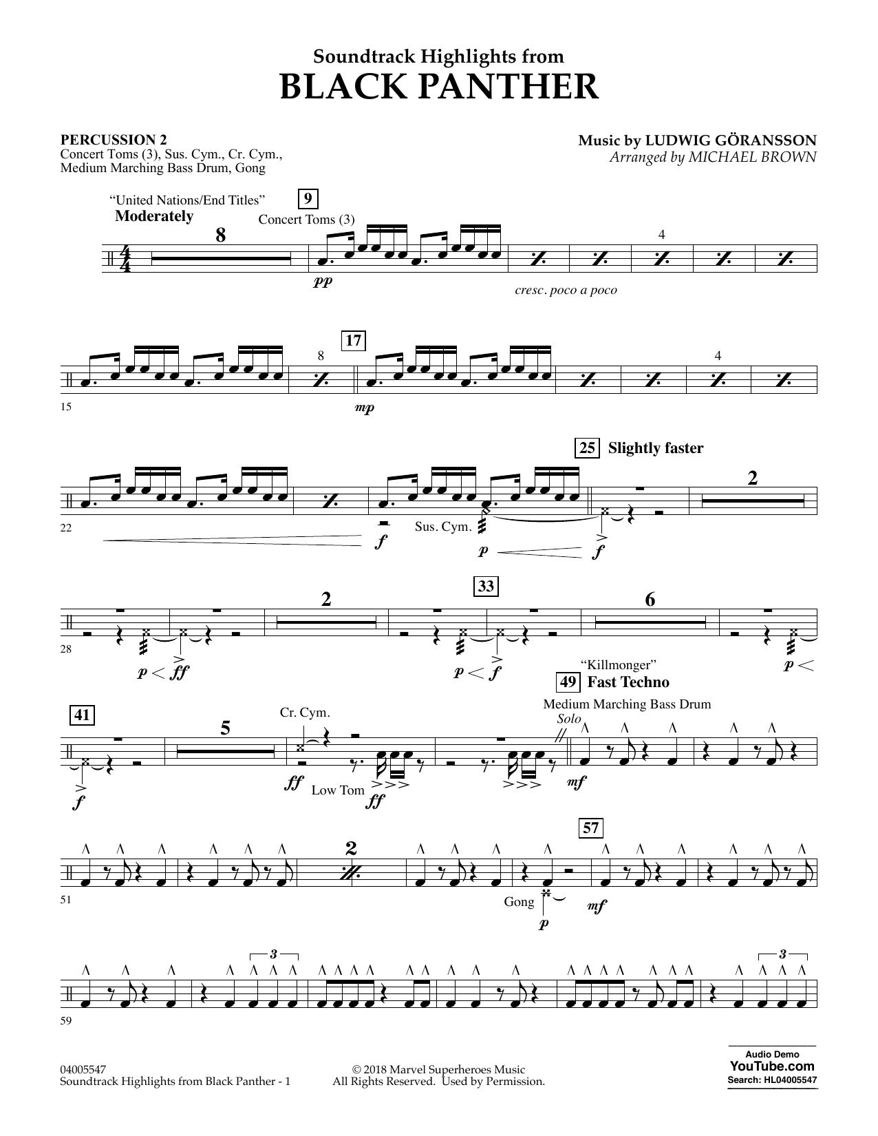 Download Michael Brown 'Soundtrack Highlights from Black Panther - Percussion 2' Digital Sheet Music Notes & Chords and start playing in minutes