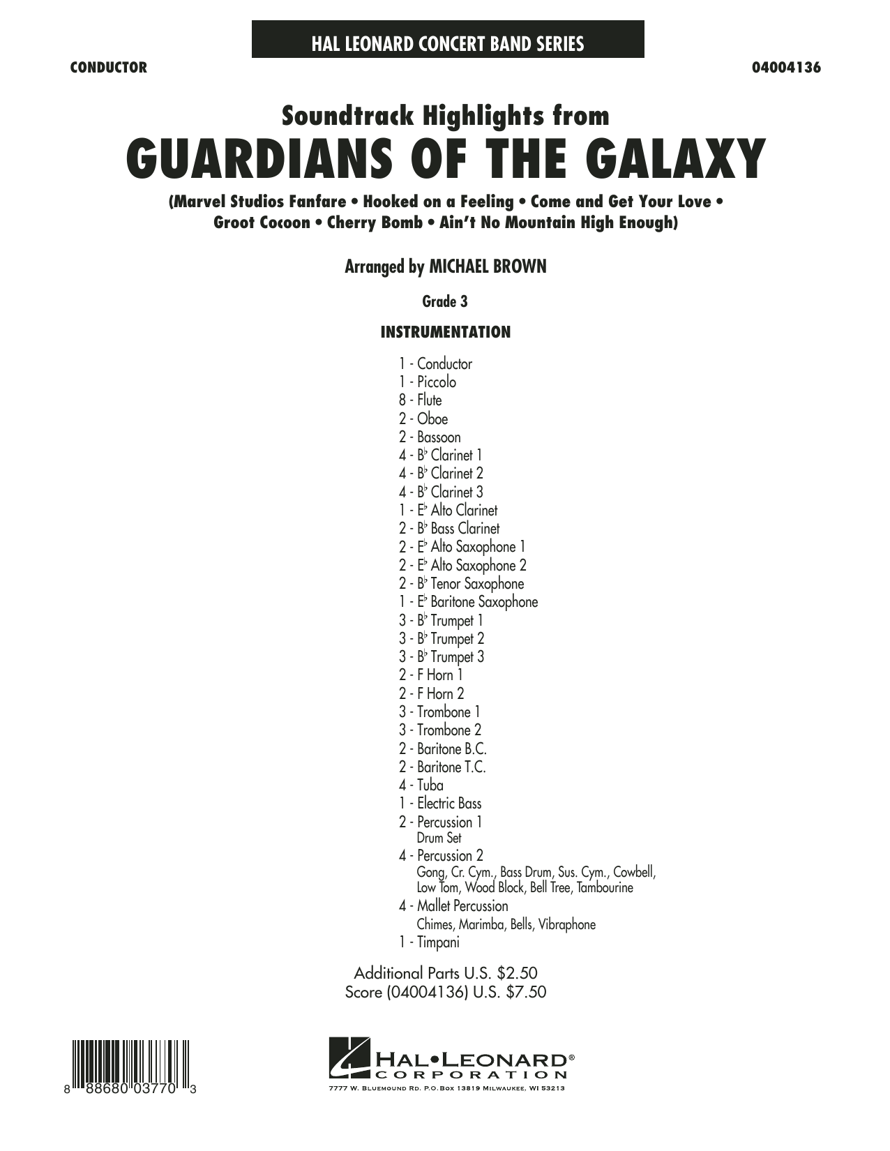 Michael Brown Soundtrack Highlights from Guardians of the Galaxy - Conductor Score (Full Score) sheet music preview music notes and score for Concert Band including 30 page(s)