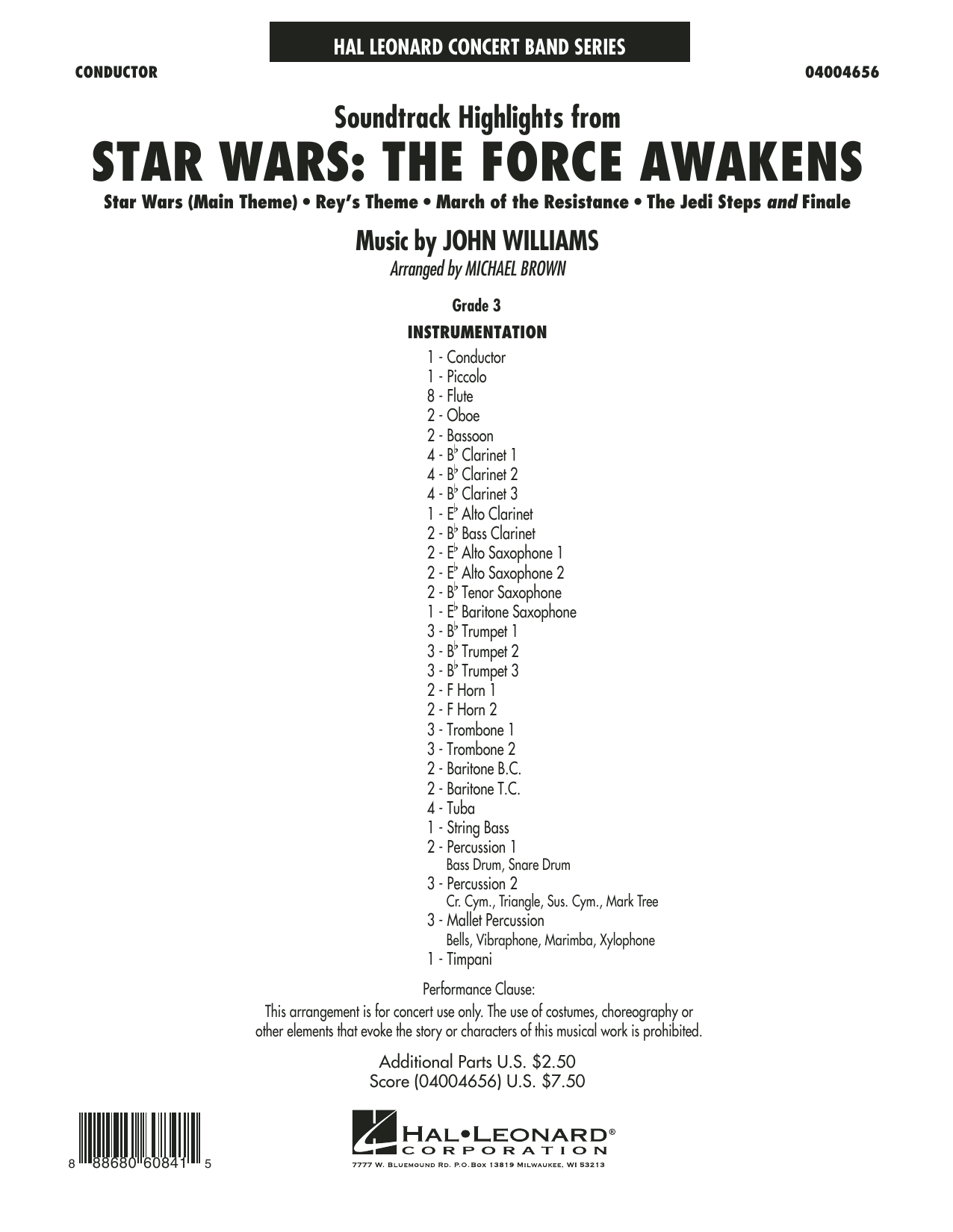Michael Brown Soundtrack Highlights from Star Wars: The Force Awakens - Conductor Score (Full Score) sheet music preview music notes and score for Concert Band including 24 page(s)