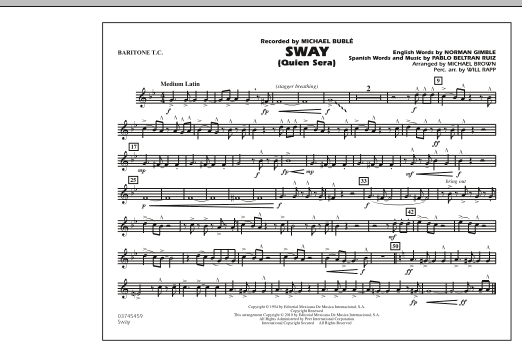 Michael Brown Sway (Quien Sera) - Baritone T.C. sheet music preview music notes and score for Concert Band including 1 page(s)