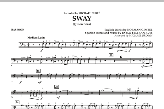 Michael Brown Sway (Quien Sera) - Bassoon sheet music preview music notes and score for Concert Band including 1 page(s)