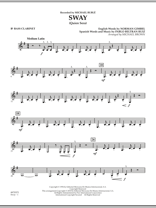 Michael Brown Sway (Quien Sera) - Bb Bass Clarinet sheet music preview music notes and score for Concert Band including 2 page(s)