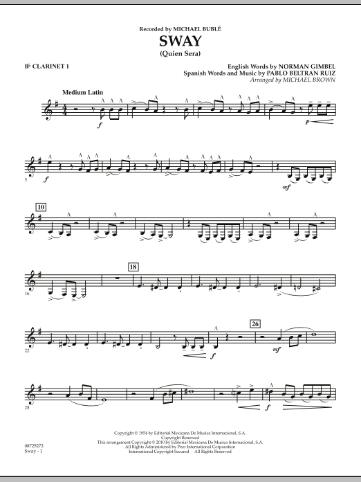Michael Brown Sway (Quien Sera) - Bb Clarinet 1 sheet music preview music notes and score for Concert Band including 2 page(s)