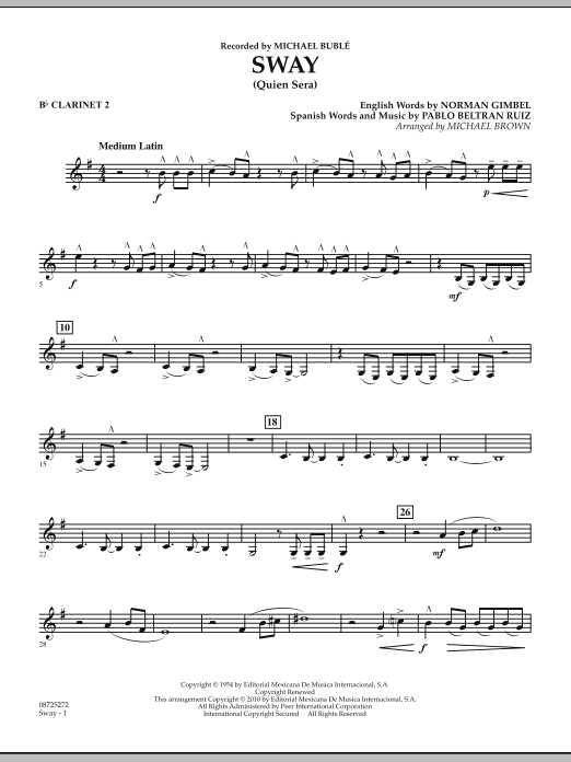 Michael Brown Sway (Quien Sera) - Bb Clarinet 2 sheet music preview music notes and score for Concert Band including 2 page(s)