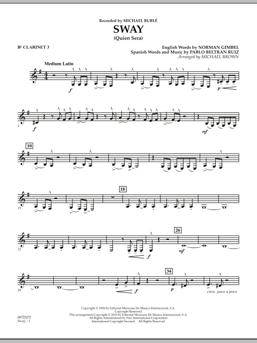Michael Brown Sway (Quien Sera) - Bb Clarinet 3 sheet music preview music notes and score for Concert Band including 2 page(s)