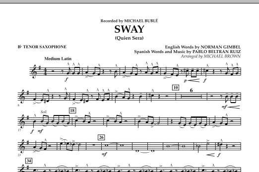 Michael Brown Sway (Quien Sera) - Bb Tenor Saxophone sheet music preview music notes and score for Concert Band including 1 page(s)