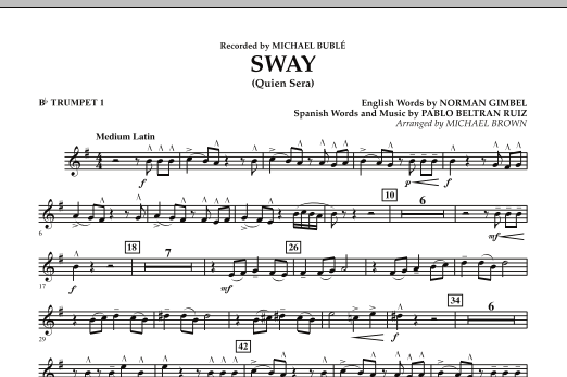 Michael Brown Sway (Quien Sera) - Bb Trumpet 1 sheet music preview music notes and score for Concert Band including 1 page(s)