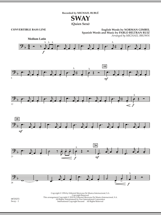 Michael Brown Sway (Quien Sera) - Convertible Bass Line sheet music preview music notes and score for Concert Band including 2 page(s)