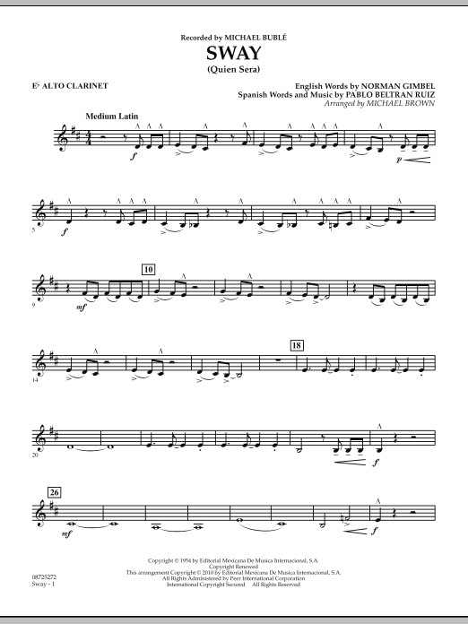 Michael Brown Sway (Quien Sera) - Eb Alto Clarinet sheet music preview music notes and score for Concert Band including 2 page(s)