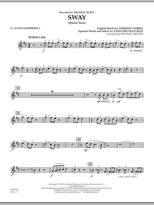 Michael Brown Sway (Quien Sera) - Eb Alto Saxophone 1 sheet music preview music notes and score for Concert Band including 2 page(s)