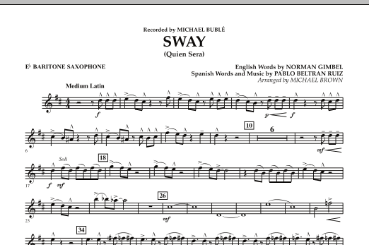 Michael Brown Sway (Quien Sera) - Eb Baritone Saxophone sheet music preview music notes and score for Concert Band including 1 page(s)