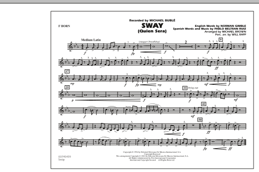 Michael Brown Sway (Quien Sera) - F Horn sheet music preview music notes and score for Concert Band including 1 page(s)