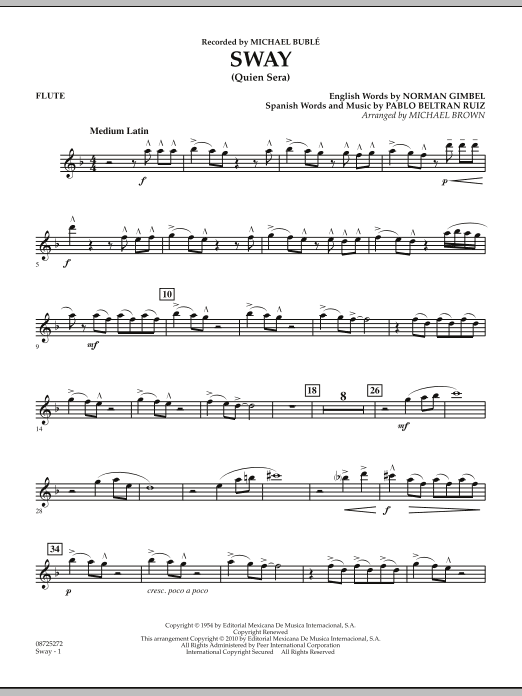 Michael Brown Sway (Quien Sera) - Flute sheet music preview music notes and score for Concert Band including 2 page(s)