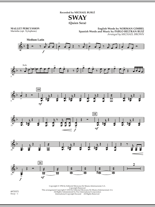 Michael Brown Sway (Quien Sera) - Mallet Percussion sheet music preview music notes and score for Concert Band including 2 page(s)