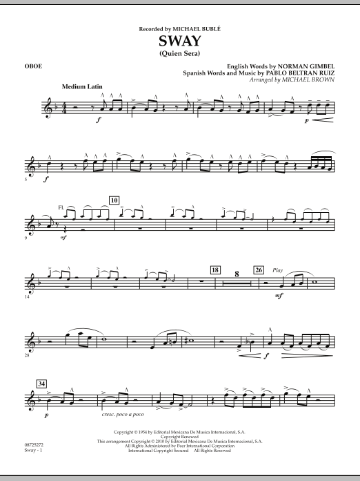 Michael Brown Sway (Quien Sera) - Oboe sheet music preview music notes and score for Concert Band including 2 page(s)