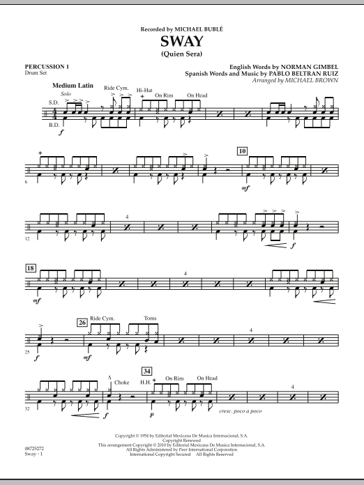 Michael Brown Sway (Quien Sera) - Percussion 1 sheet music preview music notes and score for Concert Band including 2 page(s)