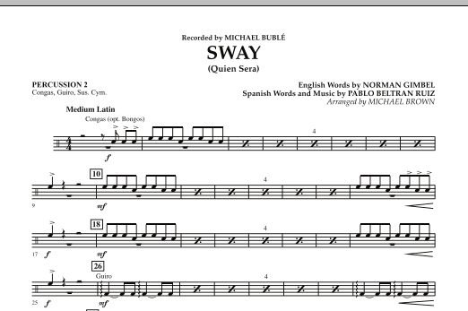 Michael Brown Sway (Quien Sera) - Percussion 2 sheet music preview music notes and score for Concert Band including 1 page(s)