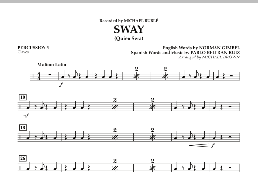 Michael Brown Sway (Quien Sera) - Percussion 3 sheet music preview music notes and score for Concert Band including 1 page(s)