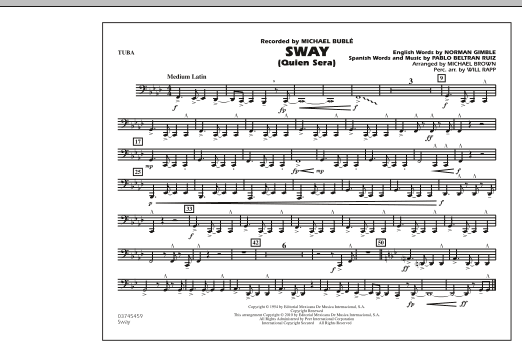 Michael Brown Sway (Quien Sera) - Tuba sheet music preview music notes and score for Concert Band including 2 page(s)