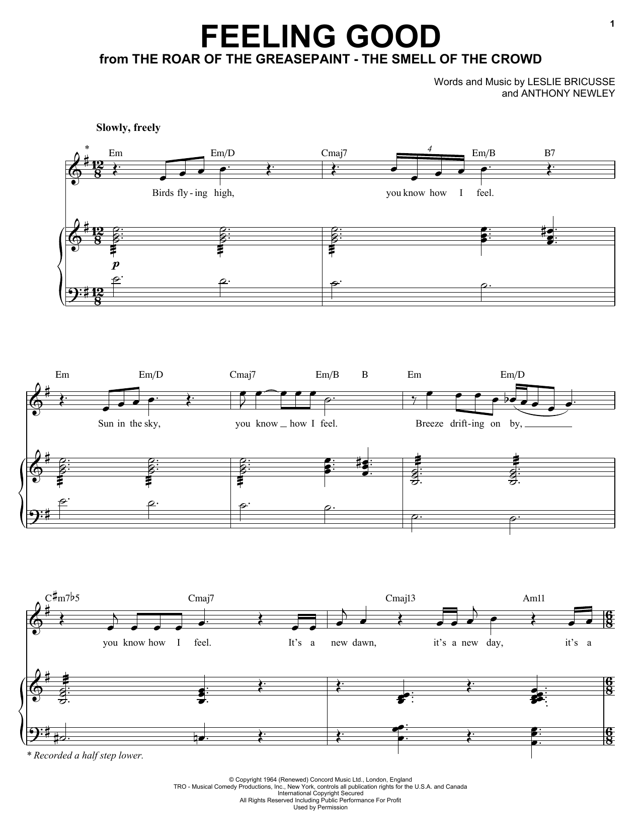 Michael Buble Feeling Good sheet music preview music notes and score for E-Z Play Today including 3 page(s)