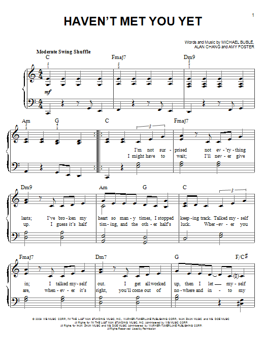 Michael Buble Haven't Met You Yet sheet music preview music notes and score for Easy Piano including 5 page(s)