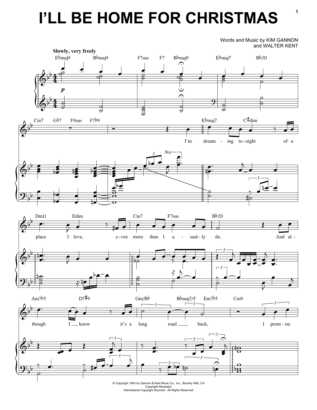 Michael Buble I'll Be Home For Christmas sheet music preview music notes and score for Piano, Vocal & Guitar (Right-Hand Melody) including 4 page(s)