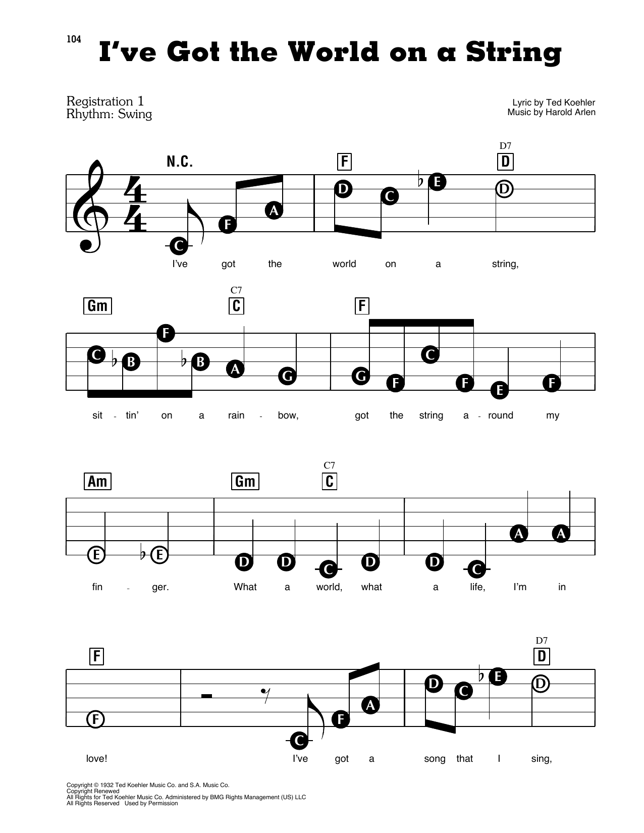 Michael Buble I've Got The World On A String sheet music preview music notes and score for E-Z Play Today including 3 page(s)