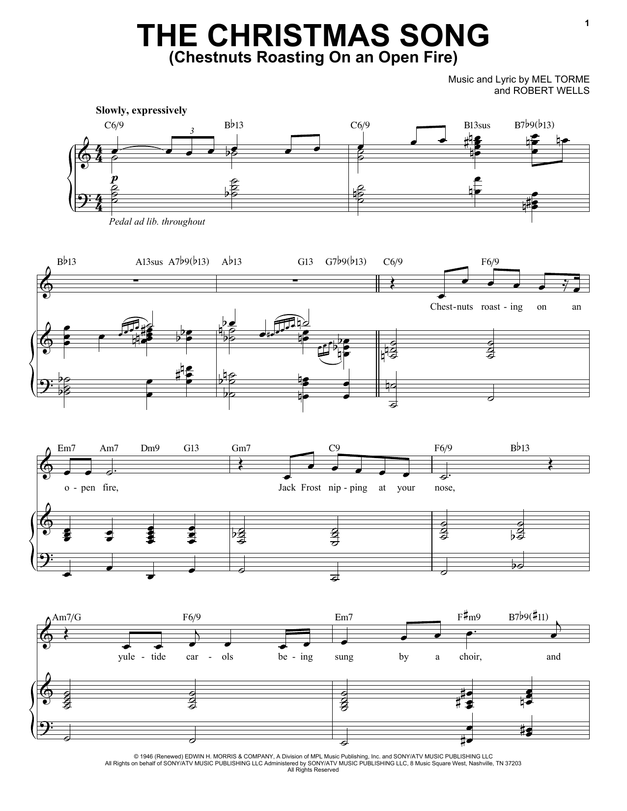 Michael Buble The Christmas Song (Chestnuts Roasting On An Open Fire) sheet music preview music notes and score for Piano, Vocal & Guitar (Right-Hand Melody) including 6 page(s)