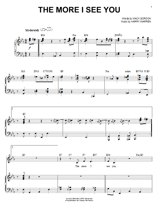 Michael Buble The More I See You sheet music preview music notes and score for Piano, Vocal & Guitar (Right-Hand Melody) including 8 page(s)