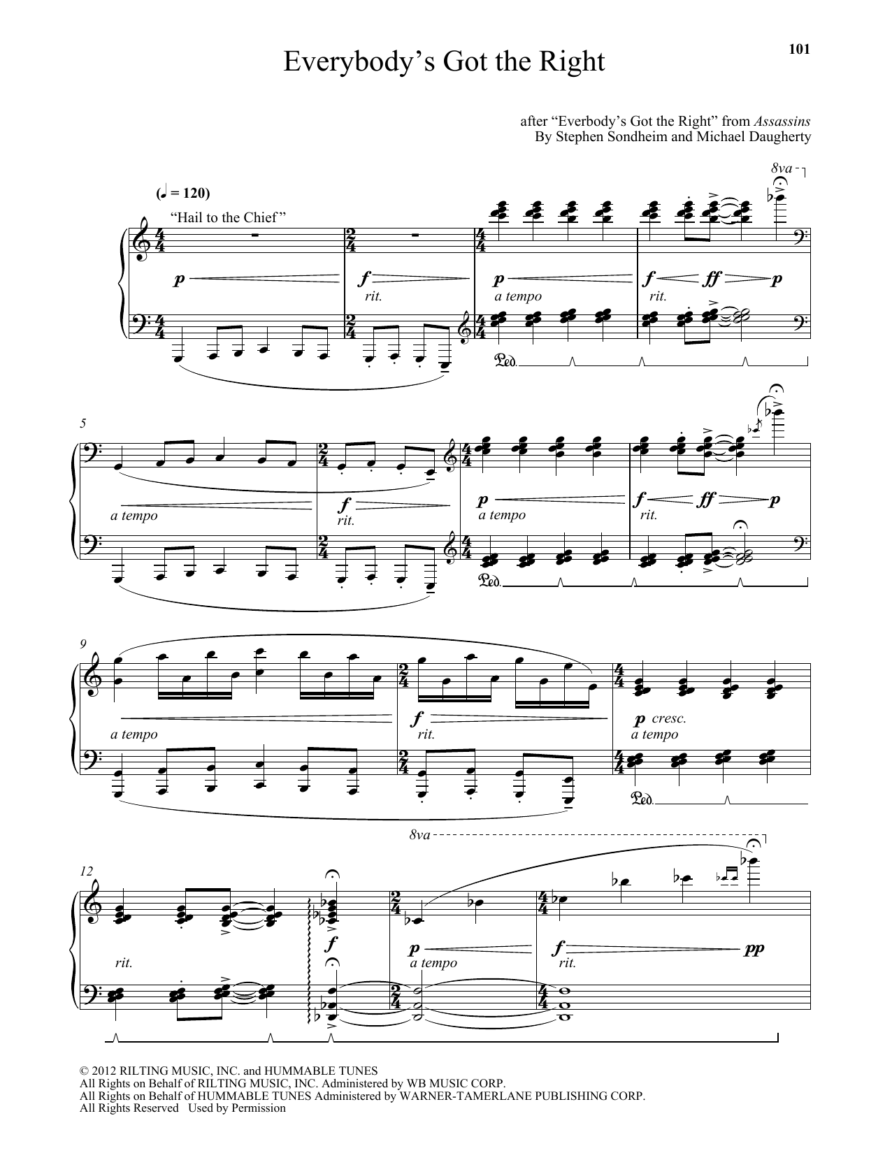 Michael Daugherty Everybody's Got The Right sheet music notes and chords