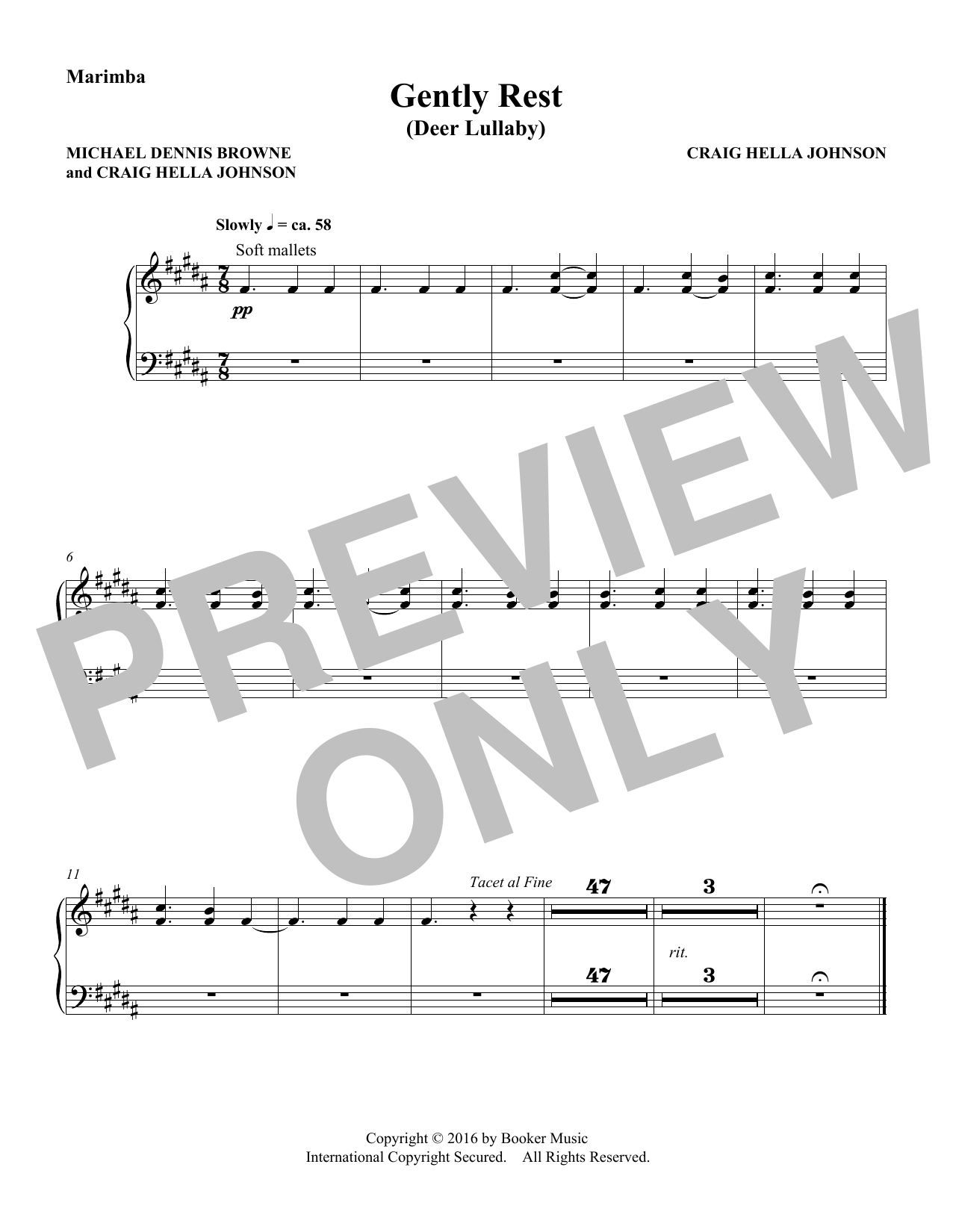 Michael Dennis Browne & Craig Hella Johnson Gently Rest (Deer Lullaby) (from Considering Matthew Shepard) - Marimba sheet music preview music notes and score for Choir Instrumental Pak including 1 page(s)