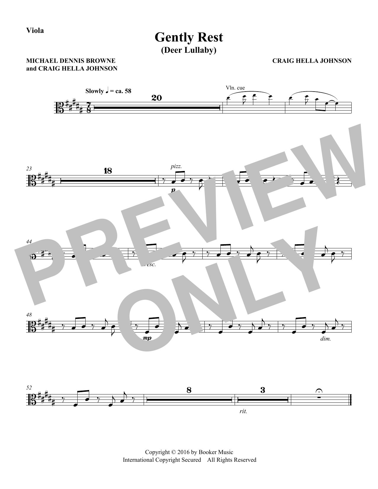 Michael Dennis Browne & Craig Hella Johnson Gently Rest (Deer Lullaby) (from Considering Matthew Shepard) - Viola sheet music preview music notes and score for Choir Instrumental Pak including 1 page(s)