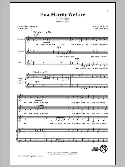 Michael East How Merrily We Live (arr. John Leavitt) sheet music preview music notes and score for SSA including 20 page(s)