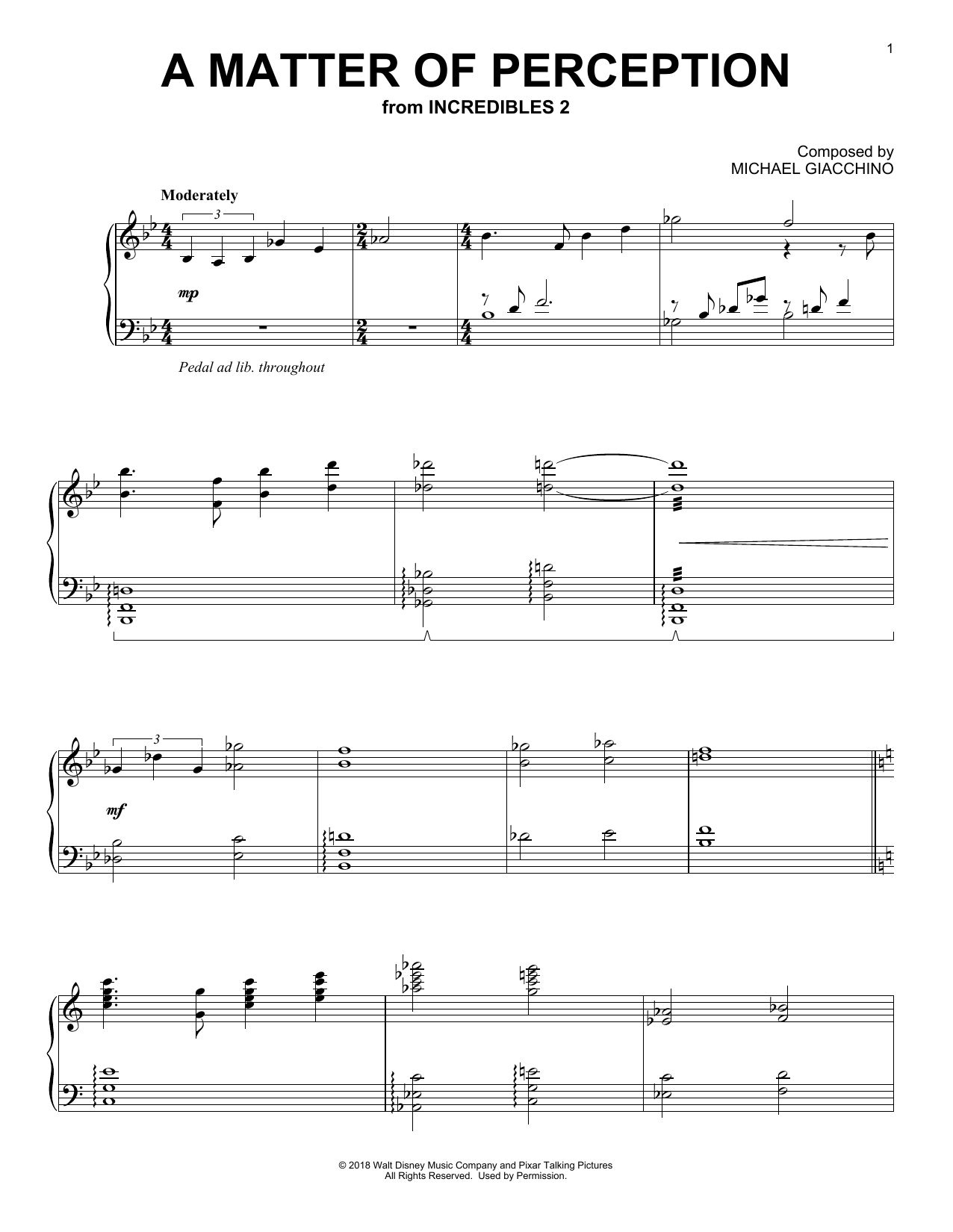 Download Michael Giacchino 'A Matter Of Perception (from The Incredibles 2)' Digital Sheet Music Notes & Chords and start playing in minutes