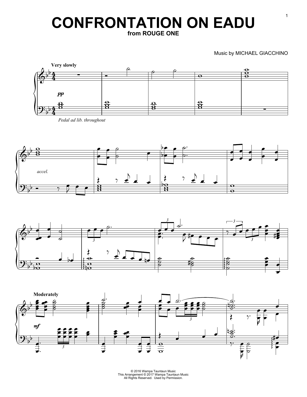 Download Michael Giacchino 'Confrontation On Eadu' Digital Sheet Music Notes & Chords and start playing in minutes