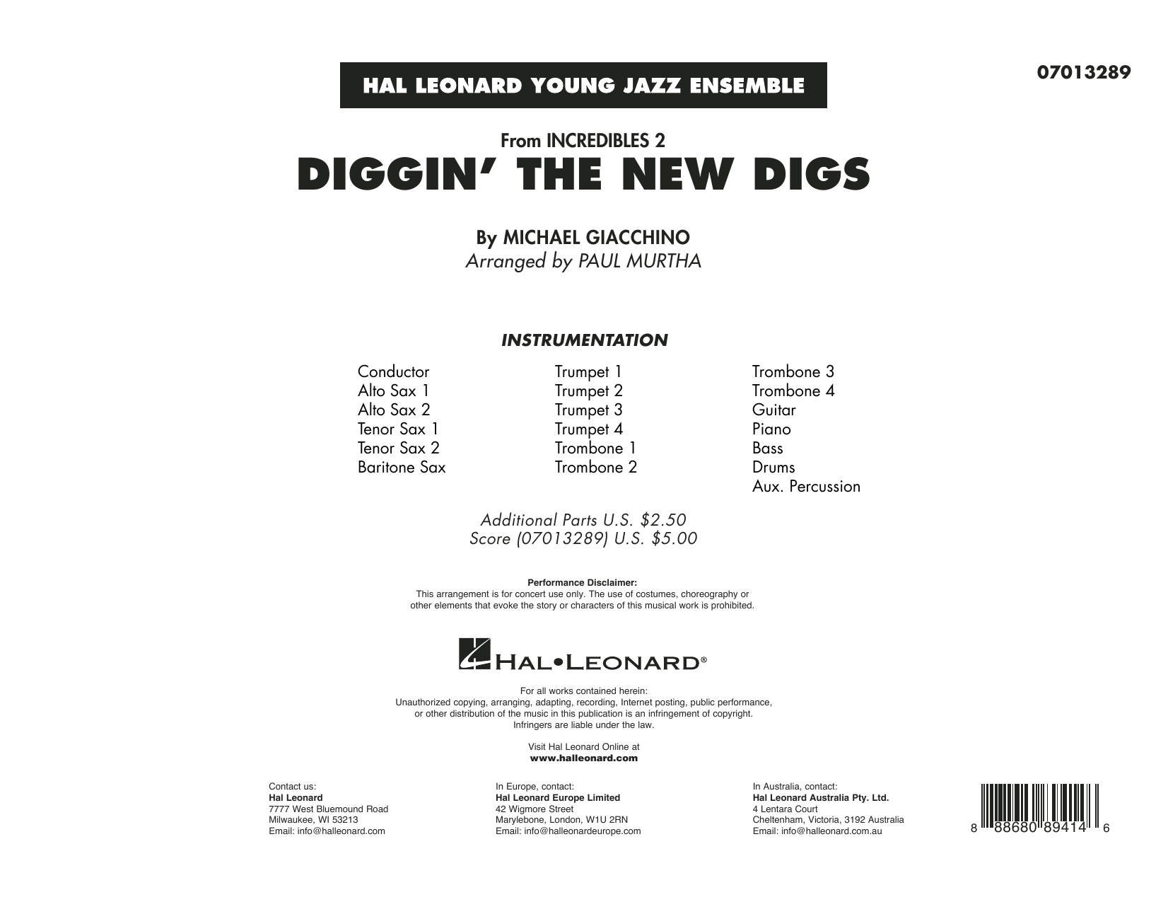Michael Giacchino Diggin' the New Digs (from Incredibles 2) (arr. Paul Murtha) - Conductor Score (Full Score) sheet music preview music notes and score for Jazz Ensemble including 12 page(s)