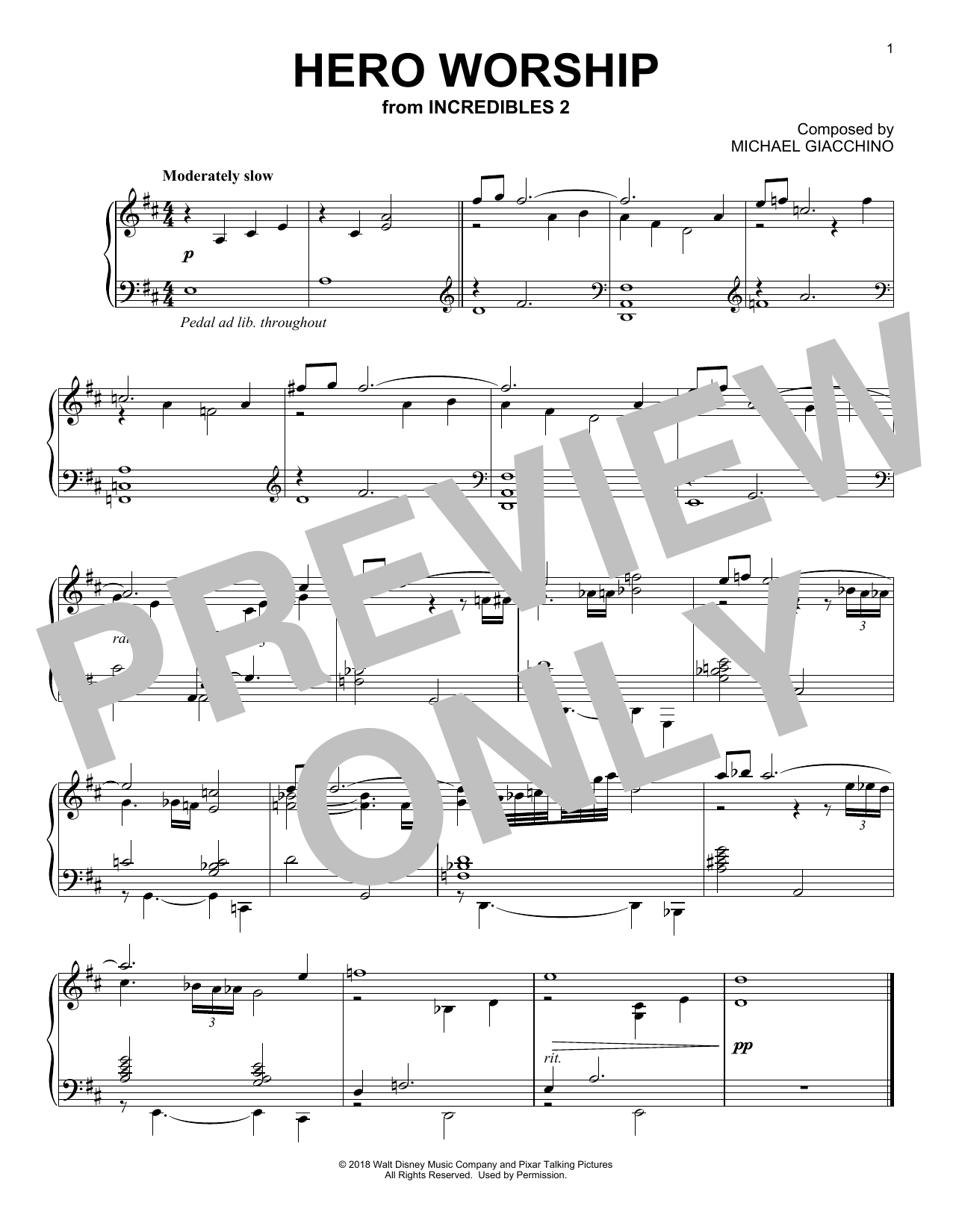 Download Michael Giacchino 'Hero Worship (from The Incredibles 2)' Digital Sheet Music Notes & Chords and start playing in minutes
