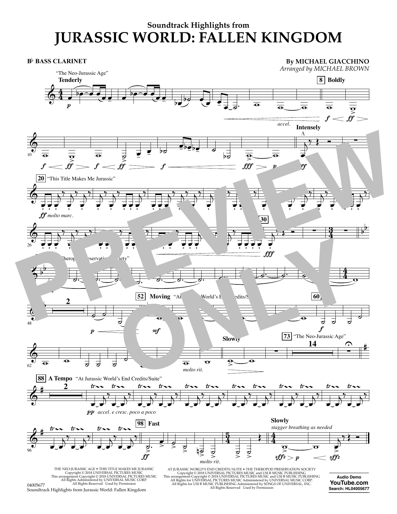 Michael Giacchino Highlights from Jurassic World: Fallen Kingdom (arr. Michael Brown) - Bb Bass Clarinet sheet music preview music notes and score for Concert Band including 1 page(s)