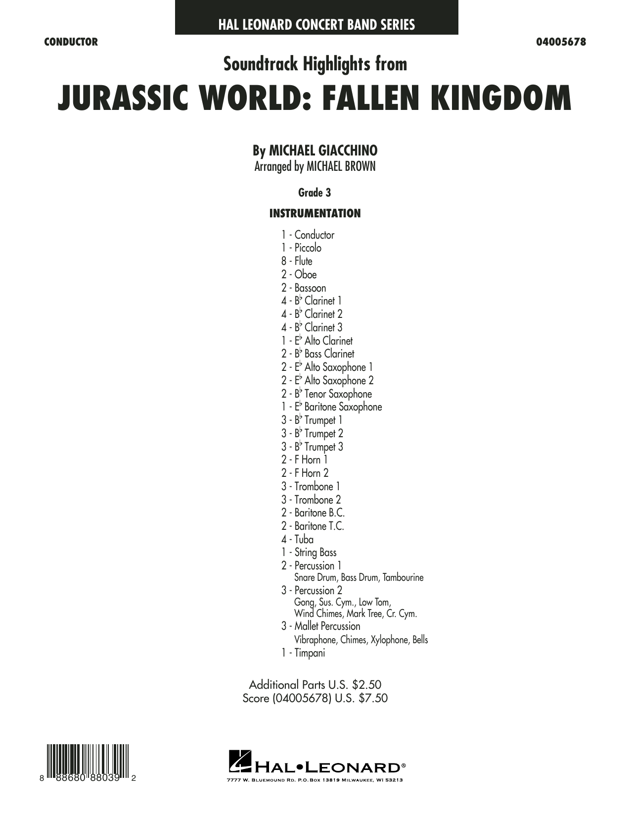 Michael Giacchino Highlights from Jurassic World: Fallen Kingdom (arr. Michael Brown) - Conductor Score (Full Score) sheet music preview music notes and score for Concert Band including 19 page(s)