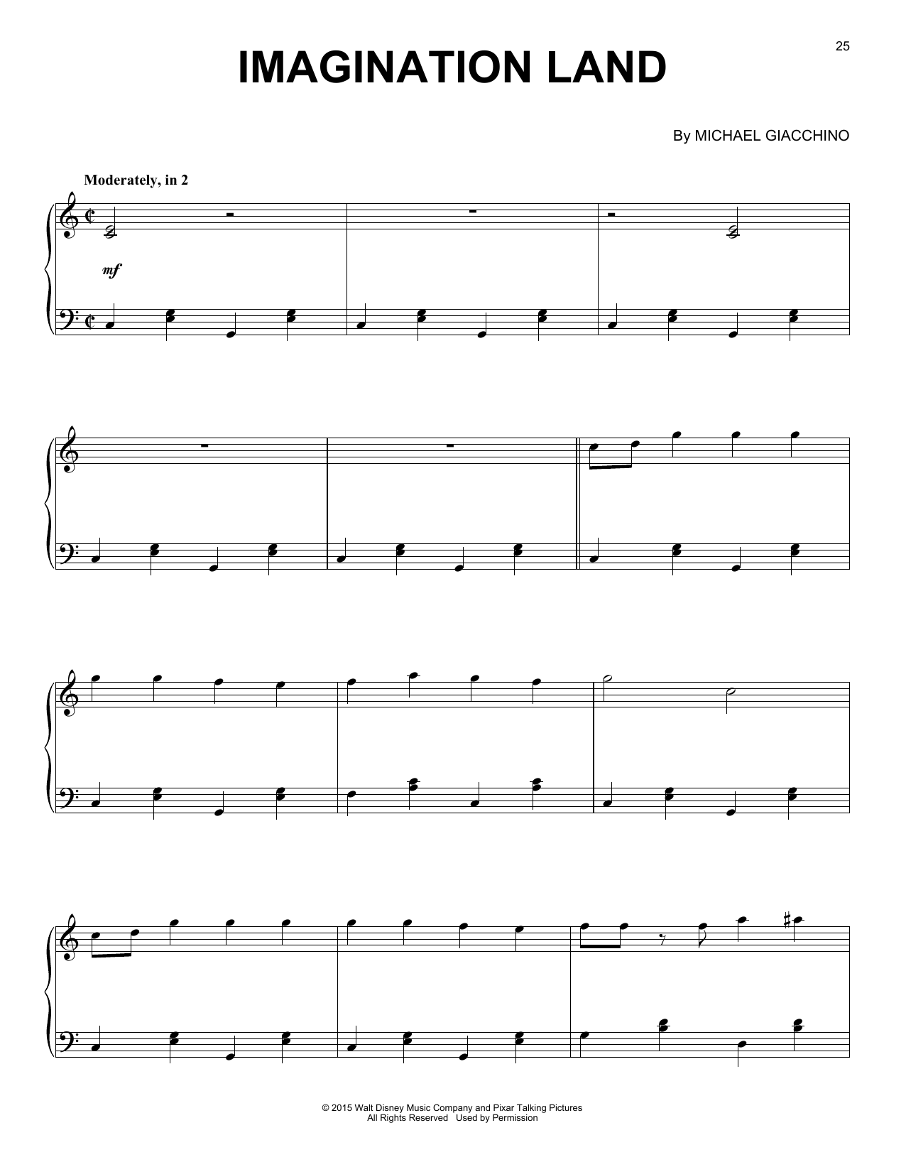 Download Michael Giacchino 'Imagination Land' Digital Sheet Music Notes & Chords and start playing in minutes