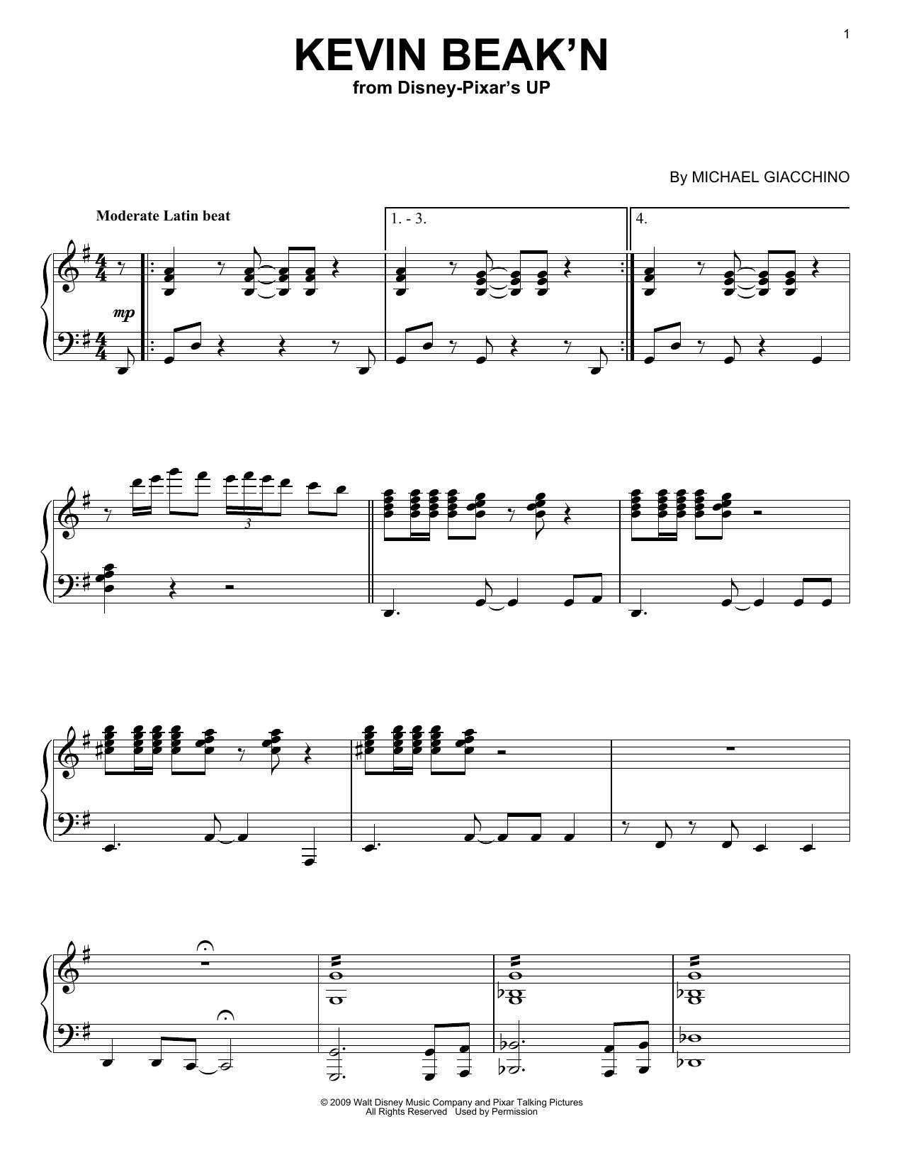 Download Michael Giacchino 'Kevin Beak'n' Digital Sheet Music Notes & Chords and start playing in minutes