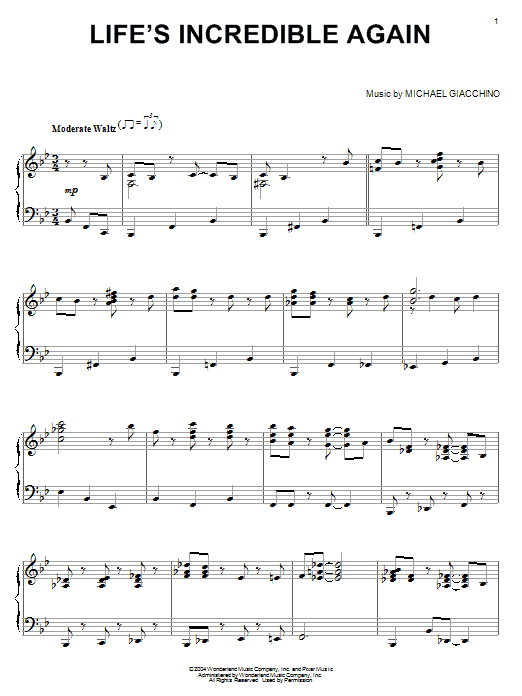Michael Giacchino Life's Incredible Again (from The Incredibles) sheet music notes and chords