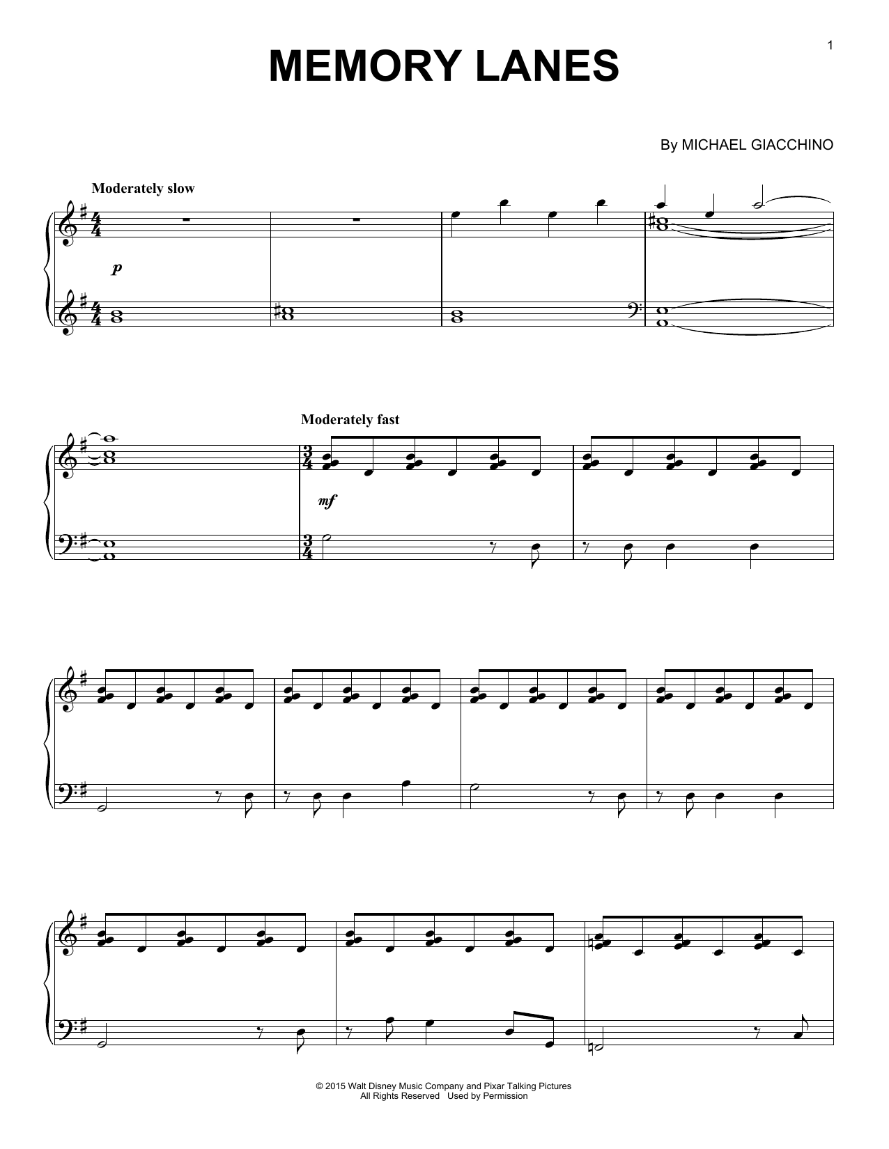 Download Michael Giacchino 'Memory Lanes' Digital Sheet Music Notes & Chords and start playing in minutes