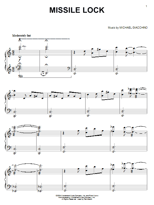 Michael Giacchino Missile Lock (from The Incredibles) sheet music notes and chords